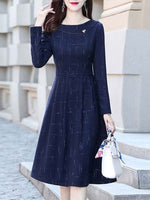 Navy Blue Casual Long Sleeve Crew Neck Checkered/plaid Dresses
