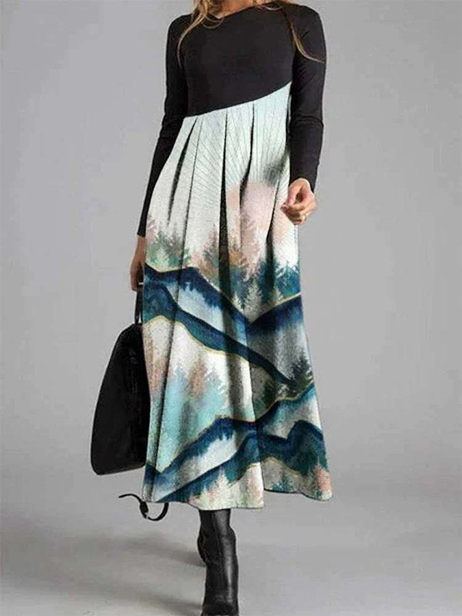 Long Sleeve Swing Crew Neck Abstract Dresses