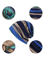 Womens Cashmere Colorful Stripe Casual Outdoor Windproof Caps Collars Scarfs