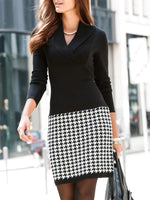 Black Sheath Houndstooth Casual Dresses