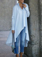 Light Blue A-Line Long Sleeve Dresses