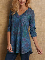 V Neck Long Sleeve Shift Cotton-Blend Shirts & Tops