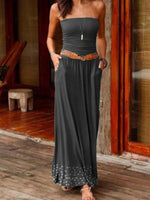 Womens Summer Strapless Boho Plain Dresses