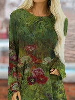 Casual Green Floral Crew Neck Long Sleeve Tops