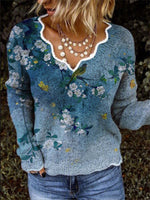 Women Casual Long Sleeve Floral-Print V Neck Shirts & Tops