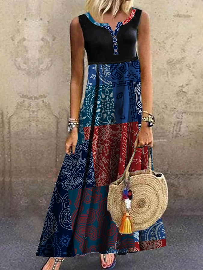 Blue Tribal V Neck Holiday A-Line Dresses