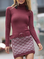 Wine Red Sheath Casual Long Sleeve Dresses