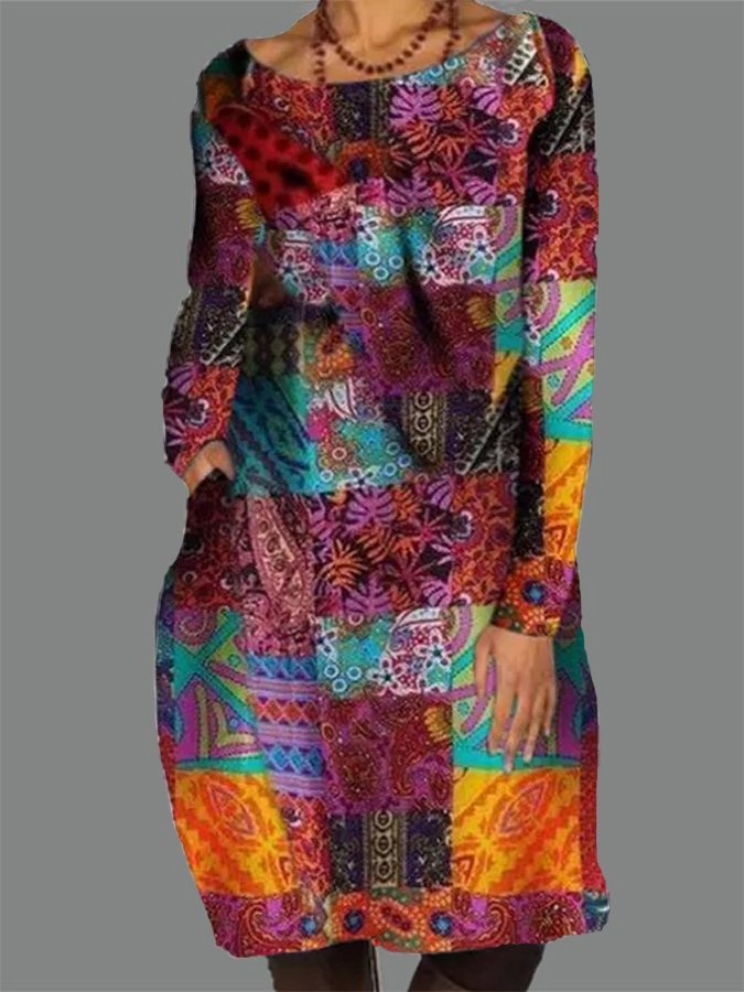 Casual Printed Long Sleeve Tribal Dresses