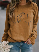 Horse Heartbeat Print Long Sleeve Sweatshirt