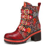 Retro Leather Floral Pattern Metal Buckle Hook Look Warm Lining Platform Chunky Heel Short Boots