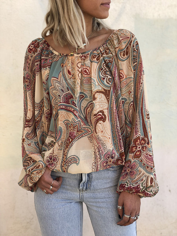 Boho Printed Crew Neck Casual Shirts & Tops