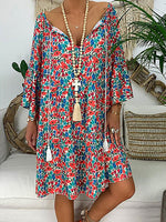Red V Neck Floral Long Sleeve Fringed Dresses