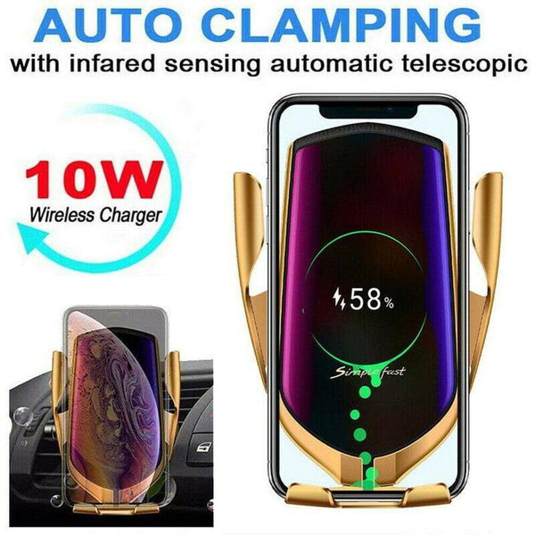 Wireless Charger Car Phone Holder Mount Automatic Clamping - Gadgets Essential