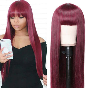 Straight Human Hair Burgundy Wigs Basic Cap Wig With Bangs 99J Color