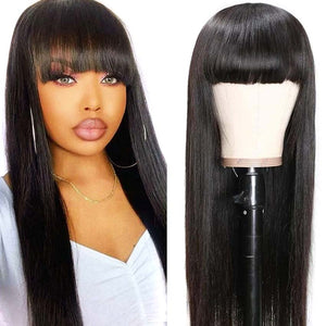 Rebecca Fashion Natural Color Wig Long Straight Hair Wigs With Bangs Human Hair