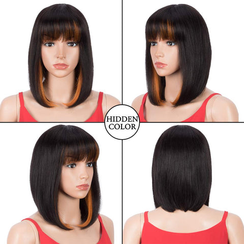 Rebecca Fashion Short Human Hair Bob Wigs With Bangs Ombre Black With Orange Color Dying Hair Behind Ear Wigs 10 inch