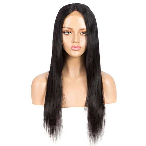 Rebecca Fashion 4x4 Lace Closure Wigs 100% Straight Human Hair Wigs For Black Women 150% Density Natural Black Color