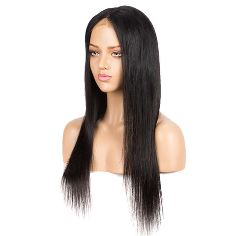 "4x4 Lace Closure Wig 10""-30"" 150% Density Natural Black Straight Wigs"