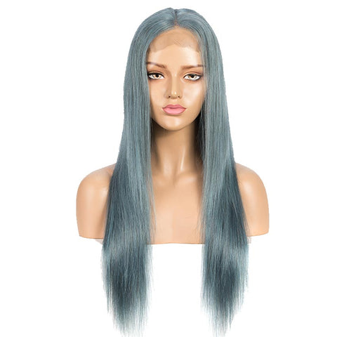Blue Straight Wigs 150% Density 4x4 Lace Human Hair Wig