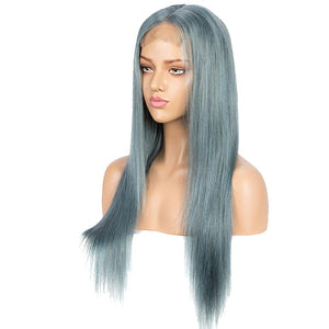 Rebecca Fashion Highlight Blue 100% Human Hair Wigs Straight 4x4 HD Lace Closure Wigs 150% Density
