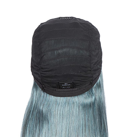 Image of Blue Straight Wigs 150% Density 4x4 Lace Human Hair Wig