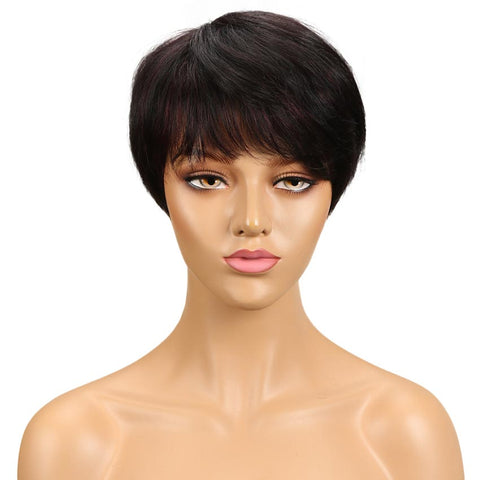 Short Straight Pixie Cut Wigs With Bangs Human Hair Basic Cap Wig