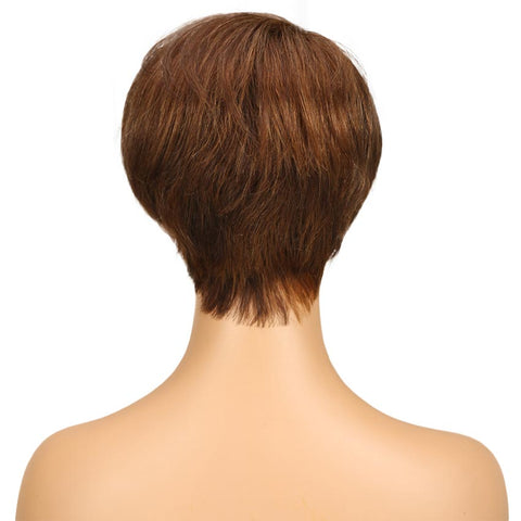 Image of Brown Pixie Cut Wig Short Style Human Hair Wigs With Bangs