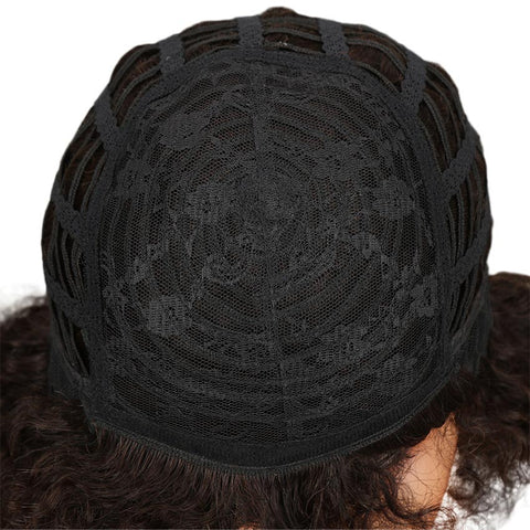 Brown Human Hair Curly Afro Wig