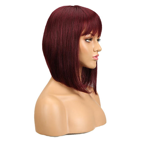 Image of Human Hair Red Wigs 99J Straight Bob Basic Cap Wigs With Bangs