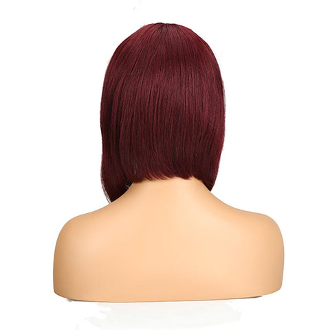 Human Hair Red Wigs 99J Straight Bob Basic Cap Wigs With Bangs