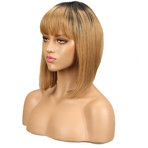 Image of Straight Bob Human Hair Wigs With Bangs 10 inch Black to Blonde Basic Wig Ombre Color