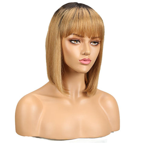 Straight Bob Human Hair Wigs With Bangs 10 inch Black to Blonde Basic Wig Ombre Color