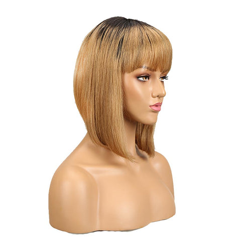 Straight Ombre Wigs With Bangs 10inch Human Hair Black and Blonde Basic Wig