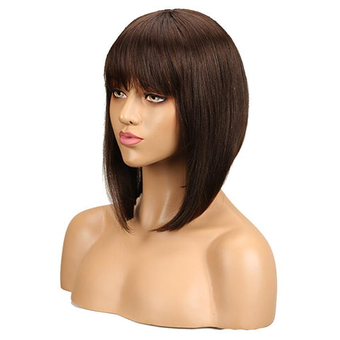 Image of Dark Brown Straight Human Hair Wigs With Bangs for African American