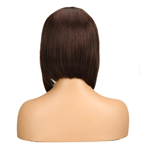 Dark Brown Straight Human Hair Wigs With Bangs for African American