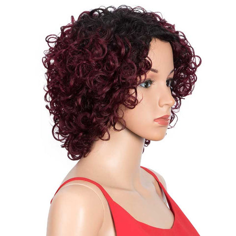 Short Wavy Bob Wigs Black Gradient Red Human Hair Wig
