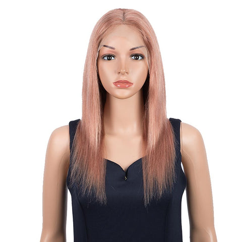 Image of Straight Hair 4x4 Lace Wig 150% Density Human Hair Pink Lace Wigs