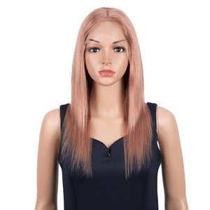 Rebecca Fashion Highlight Pink 4x4 Lace Closure Wigs 100% Straight Human Hair Wigs 150% Density