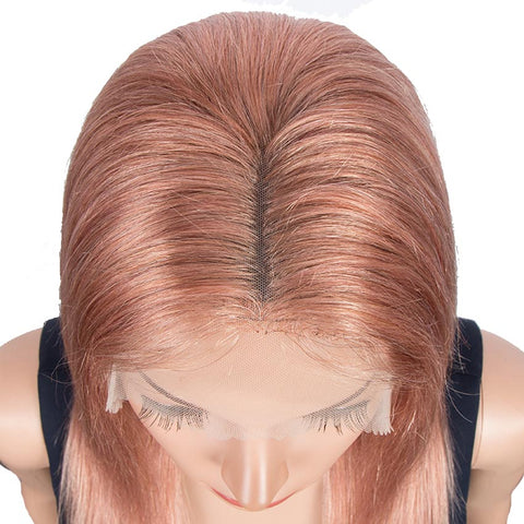 Pink Straight Human Hair Wigs 4x4 Lace Frontal Wigs Human Hair 150% Density