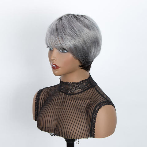 Image of Straight Bangs Style Pixie Cut 9 inch Gray  Short Natural Wigs