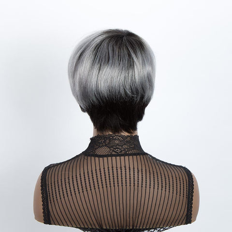 Straight Bangs Style Pixie Cut 9 inch Gray  Short Natural Wigs