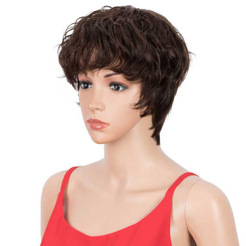 Pixie Cut Wig 4# Color Short Wavy Human Hair Wigs 9 inch