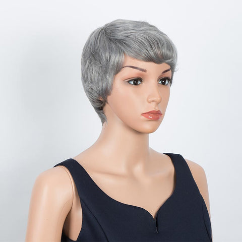Image of Human Hair Wigs For Women Short Brazilian Hair Wigs For  Women Gray Colored Left Side Wigs