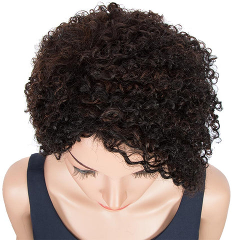 Image of Short Pixie Wigs 100% Human Hair Black Curly Wig For African American