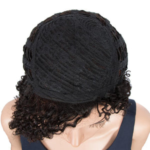 Short Pixie Wigs 100% Human Hair Black Curly Wig For African American