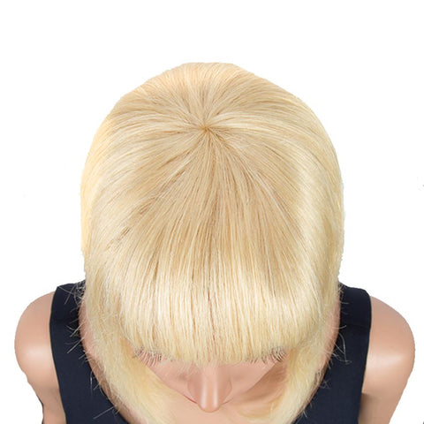 Image of Blonde Straight Bob Wig Human Hair 613 Wigs 10 inch Wigs With Bangs