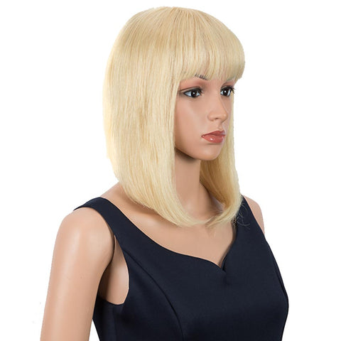 Blonde Straight Bob Wig Human Hair 613 Wigs 10 inch Wigs With Bangs