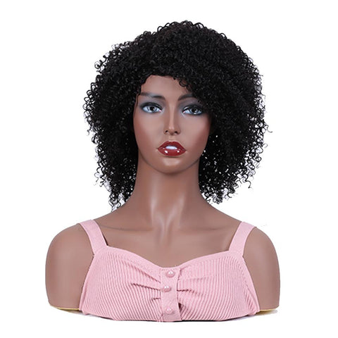Image of Short Curly Wig 100% Human Hair Kinky Curly Wigs For Black Women
