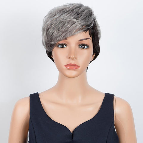 Image of Short Wavy Layered gray Human Hair Wigs Left Side Wigs