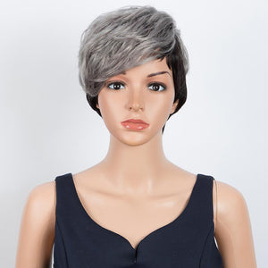 Short Wavy Layered gray Human Hair Wigs Left Side Wigs